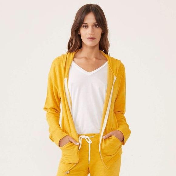 Monrow Jackets & Blazers - Monrow Classic Jacket Yellow Zip Supersoft Hoodie